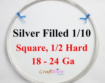 1/10 Silver Filled Wire, Square, Half Hard, 18 20 21 22 24 Gauge, Jewelry Making Wire, Silverfilled Wire
