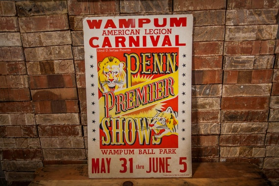 Man Cave Expo Collinsville Il : Vintage llyod d serfass carnival poster cardboard penn