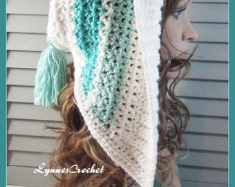 Mint Green Crocheted Hoodie Hat with Tassels . ..