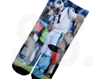 Custom Socks - Cam Newton Dab! Carolina Panthers NFL elites elite sock