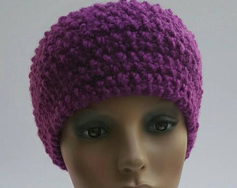 Knit headband, earwarmer, hand knit earwarmer headband,  purple headband