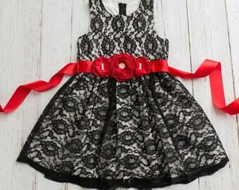 Stunning Flower Girl dress black lace, Girls Christmas dress, Black lace dress,Christmas dress, flower girl dresses,rustic flower girl dress