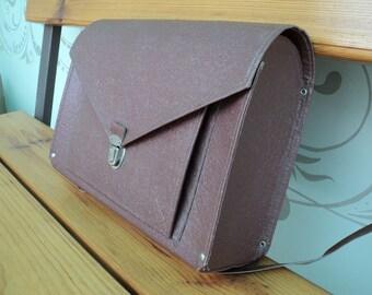 Vintage children's briefcase, backpack, durable bag 40's. brown satchel. bag on his back. Rare portfolio. The Soviet era. Exclusive.