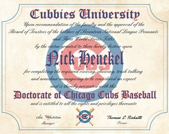 "Chicago Cubs Ultimate Baseball Fan Personalized Diploma - Perfect Gift - 8.5"" x 11"" Parchment Paper"