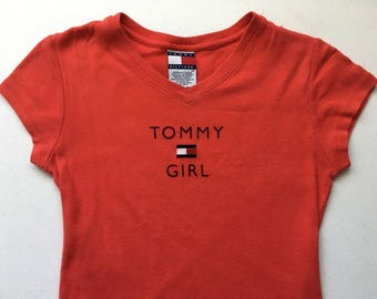 "Tommy Girl Hilfiger Red Short Sleeve Dress Prep 90's S/P 33.5"""