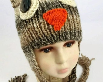Owl Hat with Braids - Owl Baby Hat - Baby Gift -  Baby Owl Hat - Kids Owl Hat with Braids - Toddler Owl Hat - Back to School - Photo Prop -