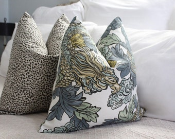 Ming Dragon// midnight // Dwell Studio // Asian print // decorative pillows // pillow covers // chinoiserie pillow // accent pillow