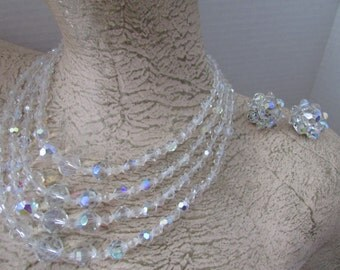 Vintage Crystal Aurora Borealis Necklace & Clip Earrings AB 4 Strand Crystal Necklace