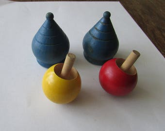 4 Vintage Wood Spinning Toy Tops Flip Top Red Yellow Blue