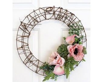 Succulent Wreath with Pink Poppies, Rustic Wreath, Poppy Wreath, Door Hanger,  15 Inches Across, Wire Frame with Grapevine, Wall Decor