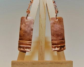 Copper Earrings Form Folded Fired Hammered Boho Southwestern