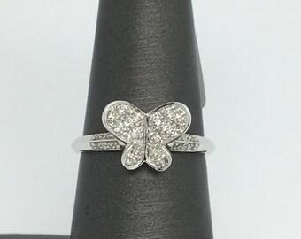 18K White Gold Butterfly Diamond Ring