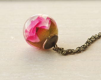 Flower necklace  resin flower necklace real flower jewelry nature pink pose flower terrarium necklace gift for a woman flower girl gift