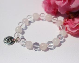 Rose quartz bracelet - White quartz bracelet - Love bracelets for women - Guardian angel bracelet - Beaded bracelet - Gemstone bracelet
