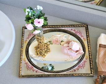 Bathroom Organization | Centerpiece | Table Centerpiece | Bath Set | Housewarming Gift | French Country | Vintage Mirror | Ormolu Vase