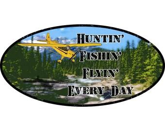 Sportsman Outdoors bumper/window sticker. Hunting, Fishing, Flying!
