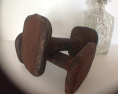 Vintage Cast Iron Dumbell Arm Weights Pair | Square Ends | Signed SS