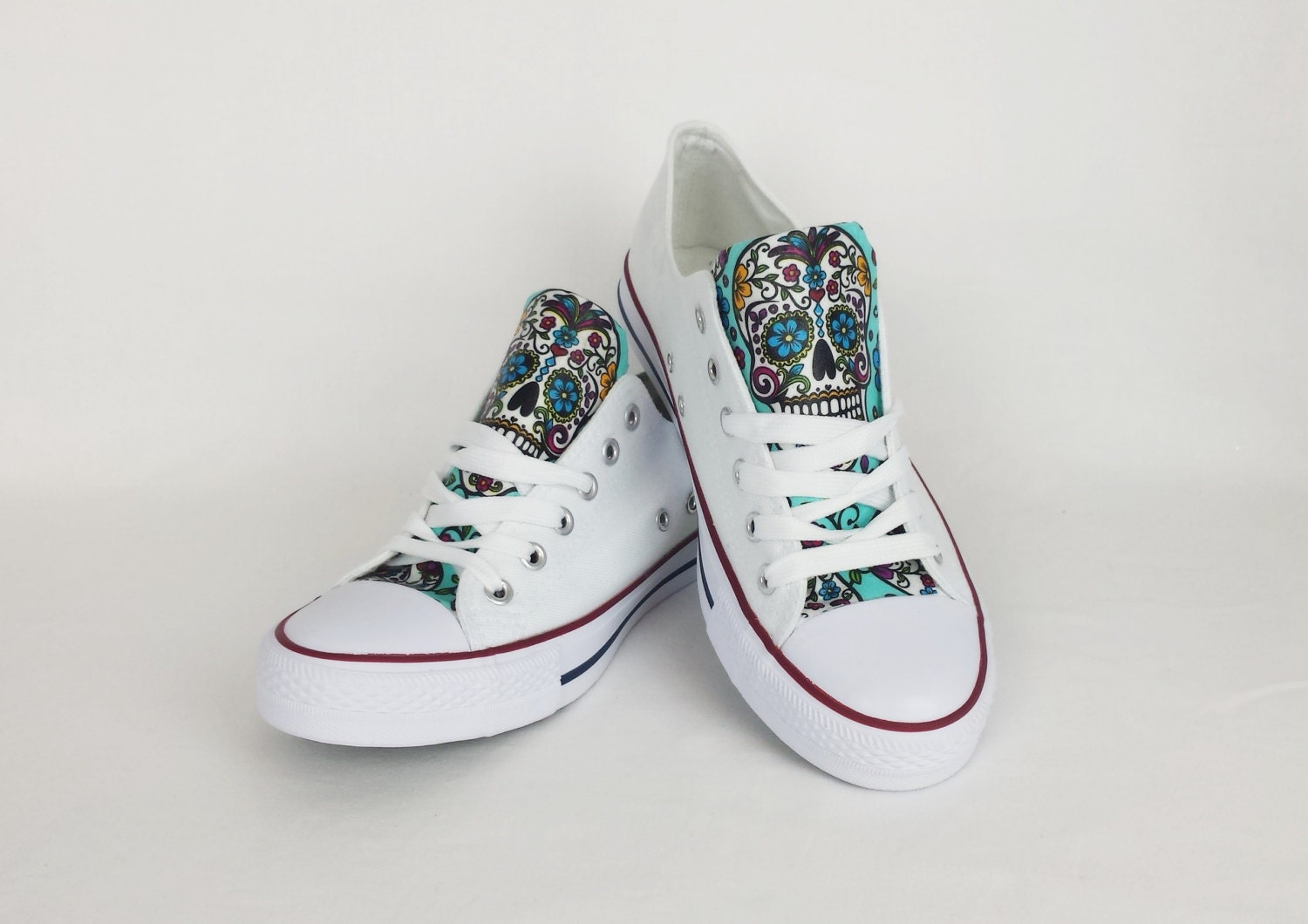White sugar skull shoes custom converse style by RockYourSole