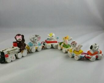 Vintage Birthday Candle Train, Ceramic Birthday Candle Holders, 1960's Birthday Decor, Vintage Cake Decorating