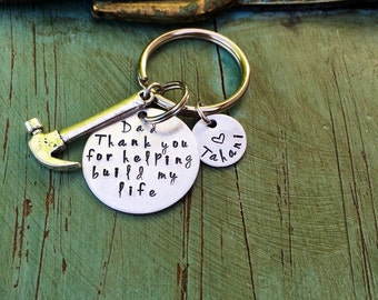 Fathers day keychain hand stamped dad keychain hammer charm tools dad gift fathers day gift daddy daughter gift father son gift keychain