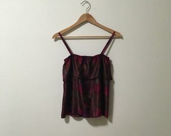 Vtg silky patterned camisole with flounce