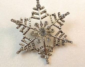Vintage Rhinestone Silver Snowflake Brooch Pin