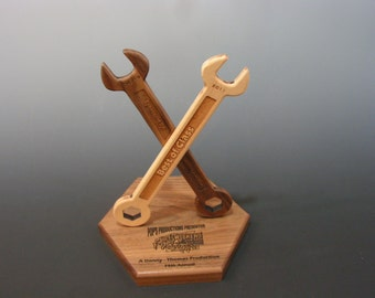 Unique handcrafted Walnut and Maple wrench trophy