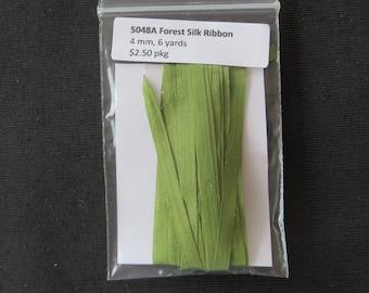 5048A Forest Green Silk Ribbon  4mm