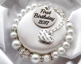 First Birthday 2017 - love you tag - Bracelet, baby's first birthday gift , first birthday bracelet, first birthday jewelry, 1st Birthday