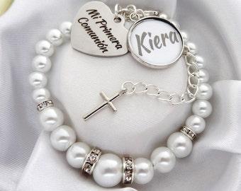 White S . Mi Primera comunión  - pulsera, Spanish communion bracelet Holy Communion , first communion gift, Primera Comunion gift, Spanish
