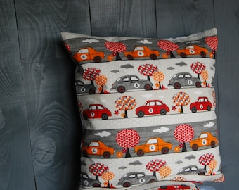Square Cushion cover ' retro cars ' 42 x 42 cm