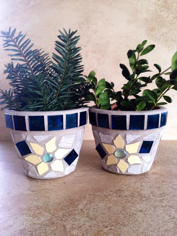 Small mosaic flower pots succulent planters blue glass pots