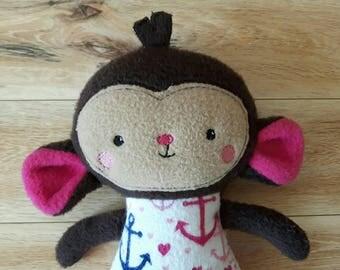 Personalized Monkey - Monkey Toy - Small Stuffed Monkey - Girl Monkey Toy - Monkey Stuffed Animal - Monkey Plushie - Monkey Doll