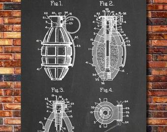 Grenade Patent Print Art 1921