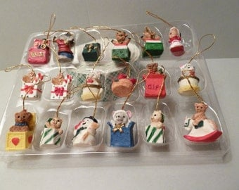 Jack in the Box, Christmas Ornaments, 18 Miniatures w / strings to Hang Them