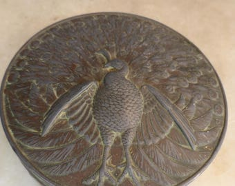 Antique Japanese heavy brass copper trinket pot with peacock emblem marked Xmas 1912