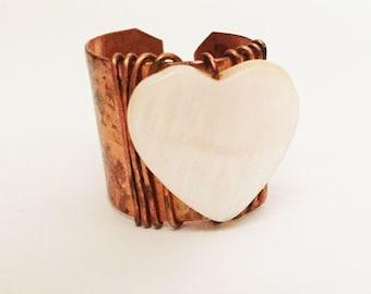Adjustable Copper Heart Ring -- Valentine Jewelry -- Copper Ring -- Handmade Artisan Statement