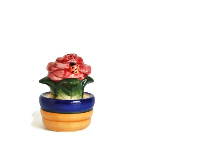Salt and Pepper Shakers Flower Pot and Flowers and Lady Bug