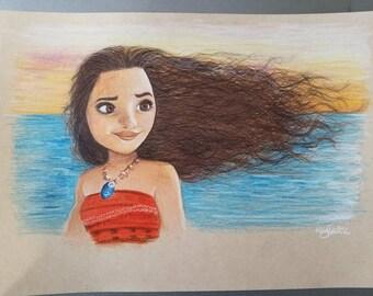 Original Color Drawing of Moana