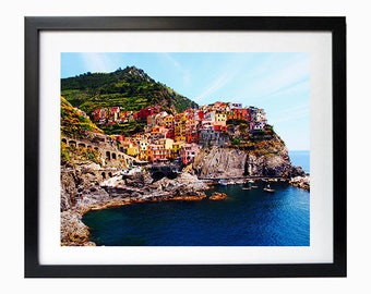 """Travel Photography 8 x 10"""" Print Italy, Cinque Terre Italy wall art italian beaches europe photography colourful buildings cliffs print"""