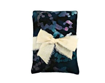 Lavender eye pillow, migraine relief, Allergy relief, Sinus relief, Navy cooling pad, Batik, headache relief, Gift for her, Gifts under 15