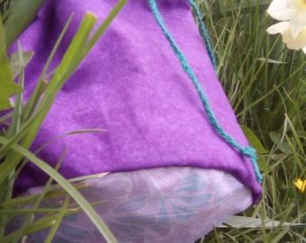 Purple drawstring bag