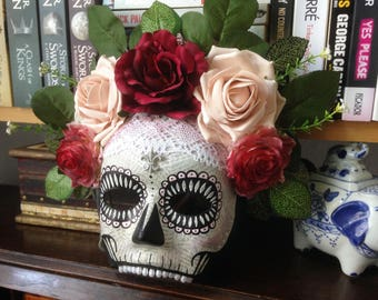 Pink, Red and Green 'Día de Muertos' Day of the Dead Halloween Skull Mask