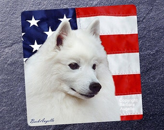 American Eskimo Dog Coasters, American Eskimo Dog Patriotic Coasters, American Eskimo Dog Gift, American Eskimo Dog Art, American Eskimo Dog