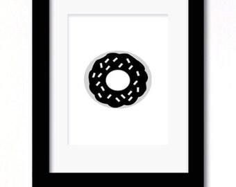 A4 monochrome black and white donut print