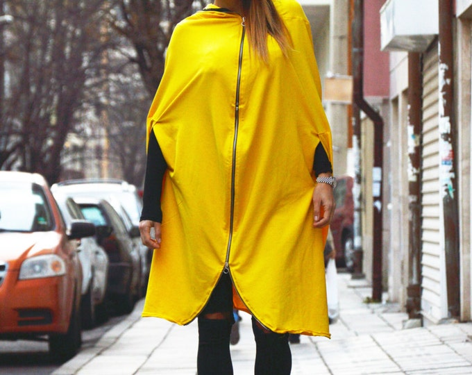 Extravagant Hooded Yellow Tracksuit With Zipper, Casual Loose Cardigan, Hooded Asymmetric Top By SSDfashion