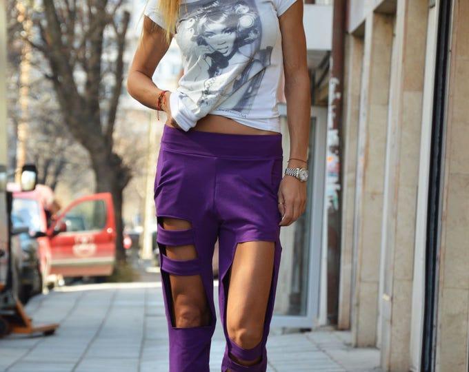 Collection Loose Drop Crotch Pants, Extravagant Purple Harem Pants, Unique Oversize Maxi Pants by SSDfashion