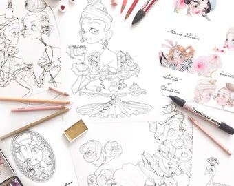 coloring book art therapy coloring pages princesses marie antoinette pop surrealism