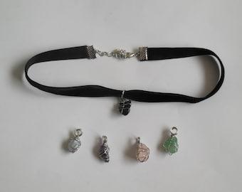 Black obsidian choker handmade wire wrapped crystal rose quartz, blue lace agate, jade, amethyst