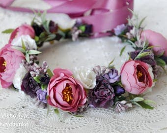 Flower hair wreath Wedding flower crown Bridal Flower Crown Woodland Crown Boho wedding hairpiece Floral Halo Wedding floral crown LV12
